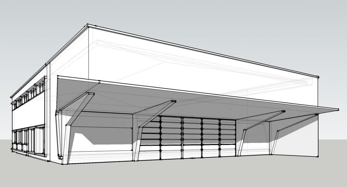 Garage de le jetée. Modélisation préparatoire